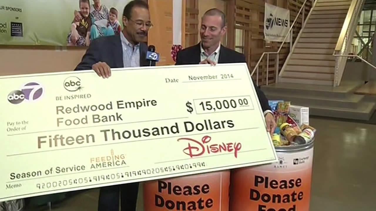 ABC7 and our parent company Disney donated $15,000 to the Redwood Empire Food Bank in Santa Rosa.