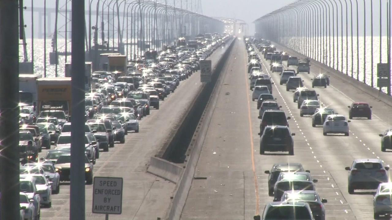 Traffic is backed up on the San Mateo Bridge on Saturday, August 25, 2018.