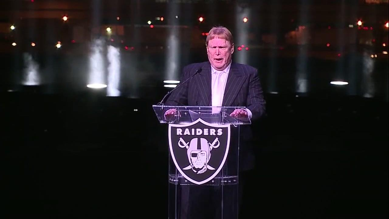 Mark Davis speaks at an event for the Oakland Raiders.