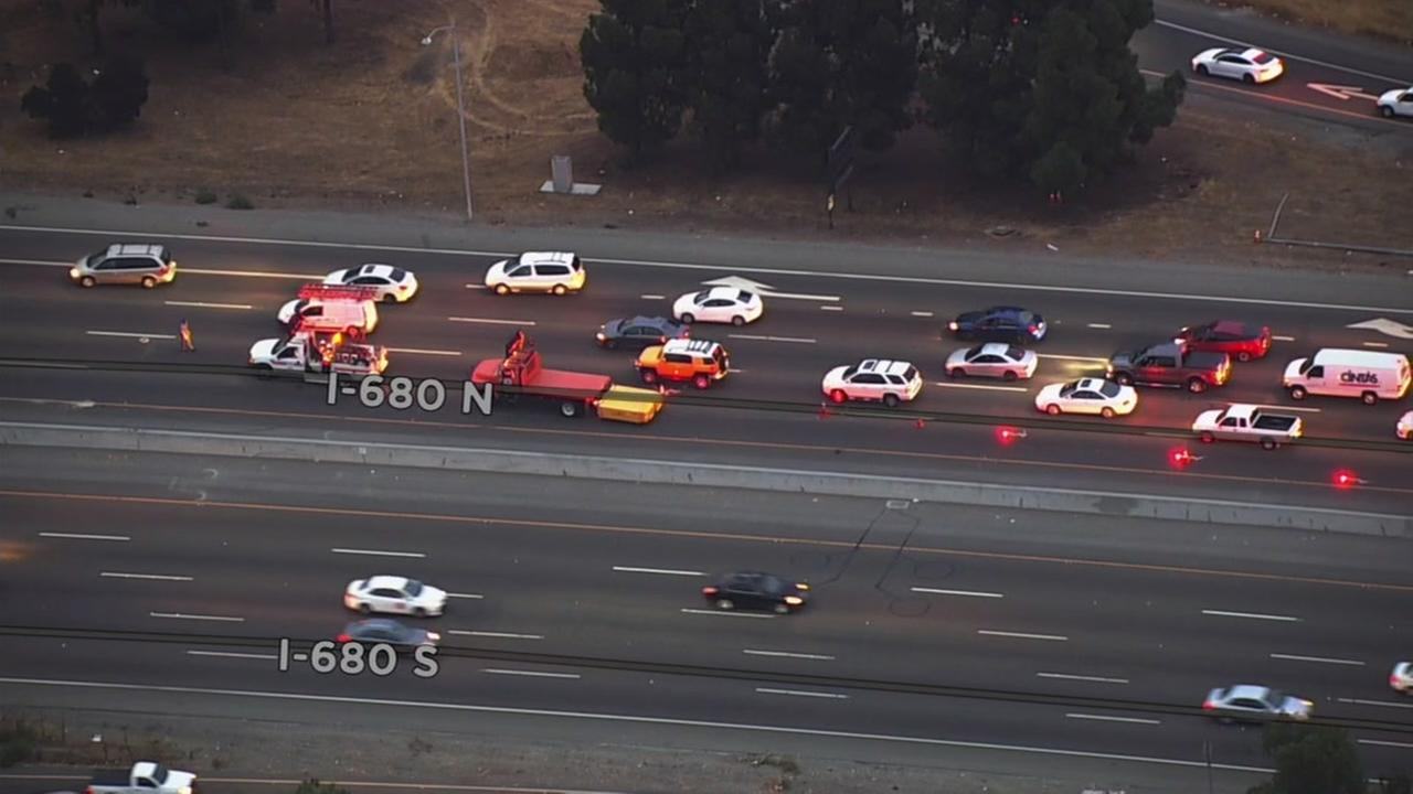 Lanes reopened following a shooting investigation on I-680 in San Jose, Calif. on Thursday, Aug. 30, 2018.