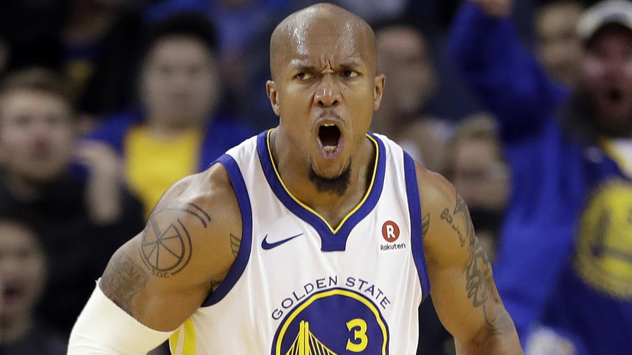 Warriors David West (3) celebrates after dunking against the Portland Trail Blazers during the second half of an NBA basketball game Monday, Dec. 11, 2017, in Oakland, Calif.