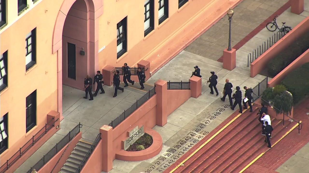 SKY7 is over a heavy police presence at Balboa High School in San Francisco on Thursday, Aug. 30, 2018.
