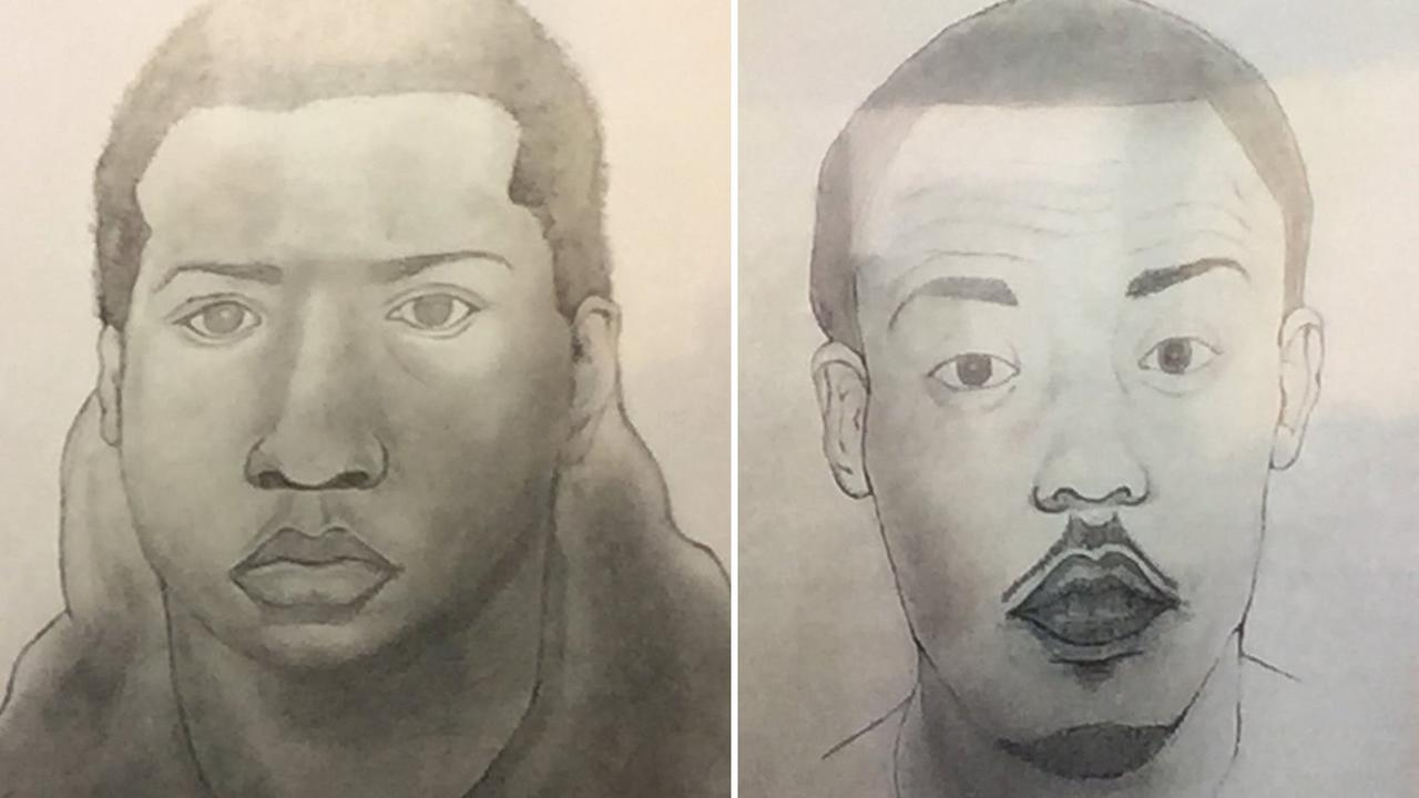 These sketches released by police show persons of interest in connection with a 2016 double homicide in Oakland, Calif.
