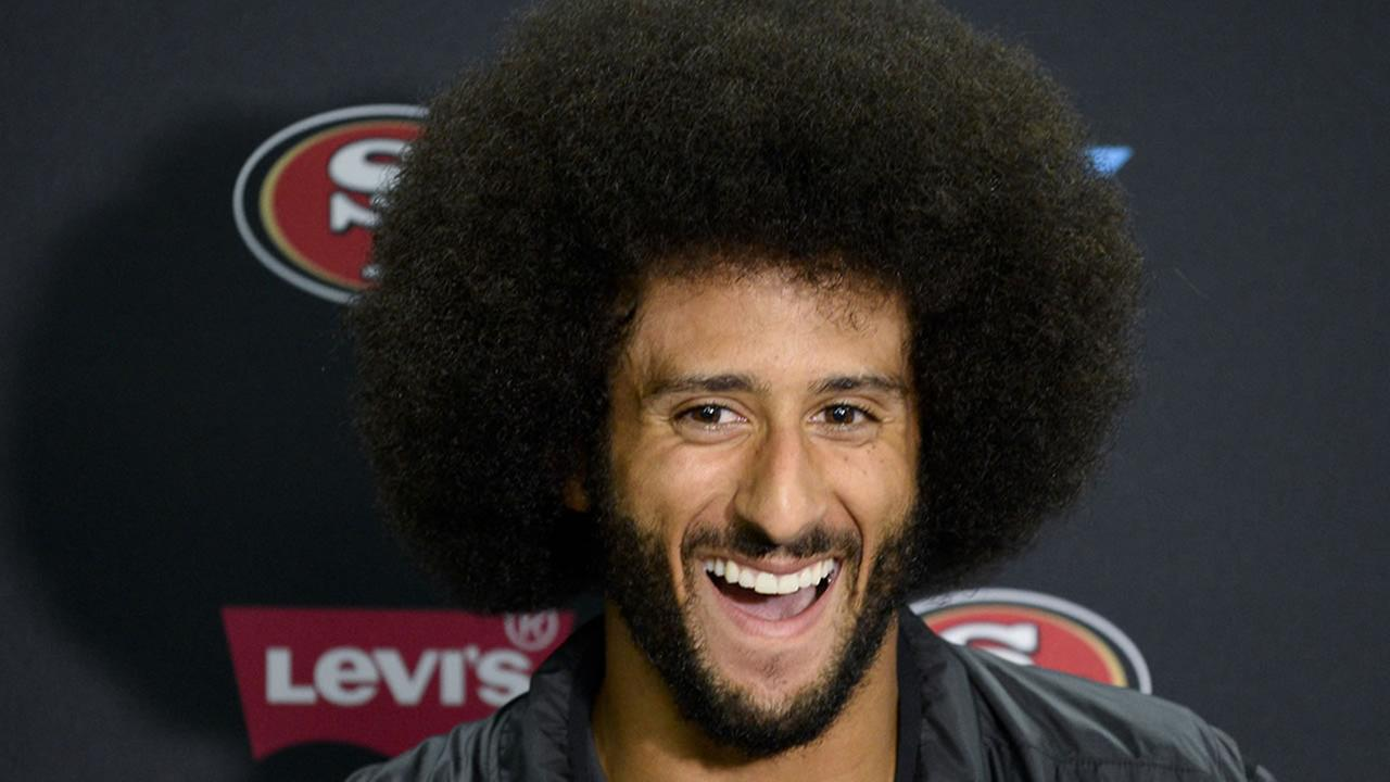 49ers QB Colin Kaepernick talks to the media at a news conference an NFL preseason football game against the San Diego Chargers Thursday, Sept. 1, 2016, in San Diego.