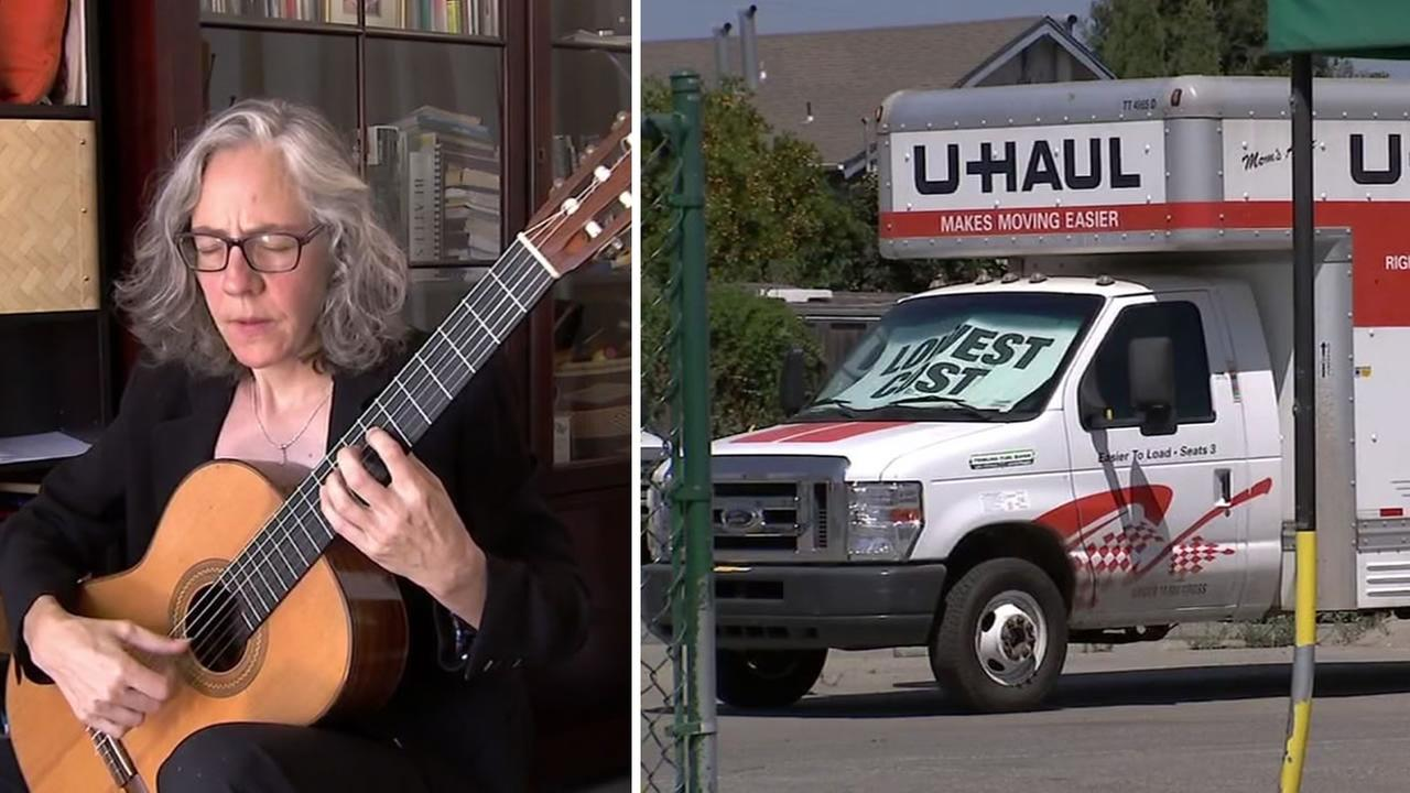 Musician Jennifer Trowbridge appears alongside a U-Haul truck in this undated split image.