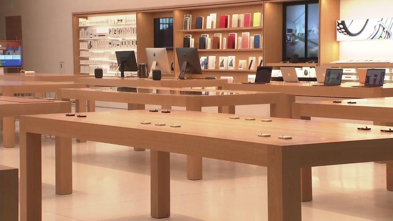 Empty merchandise tables at Apple store in Burlingame on Sunday, August 2, 2018.