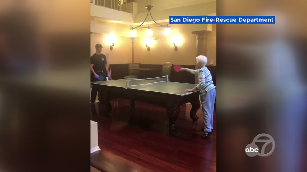 A firefighter challenged a 102-year-old woman to a game of ping-pong in San Diego.