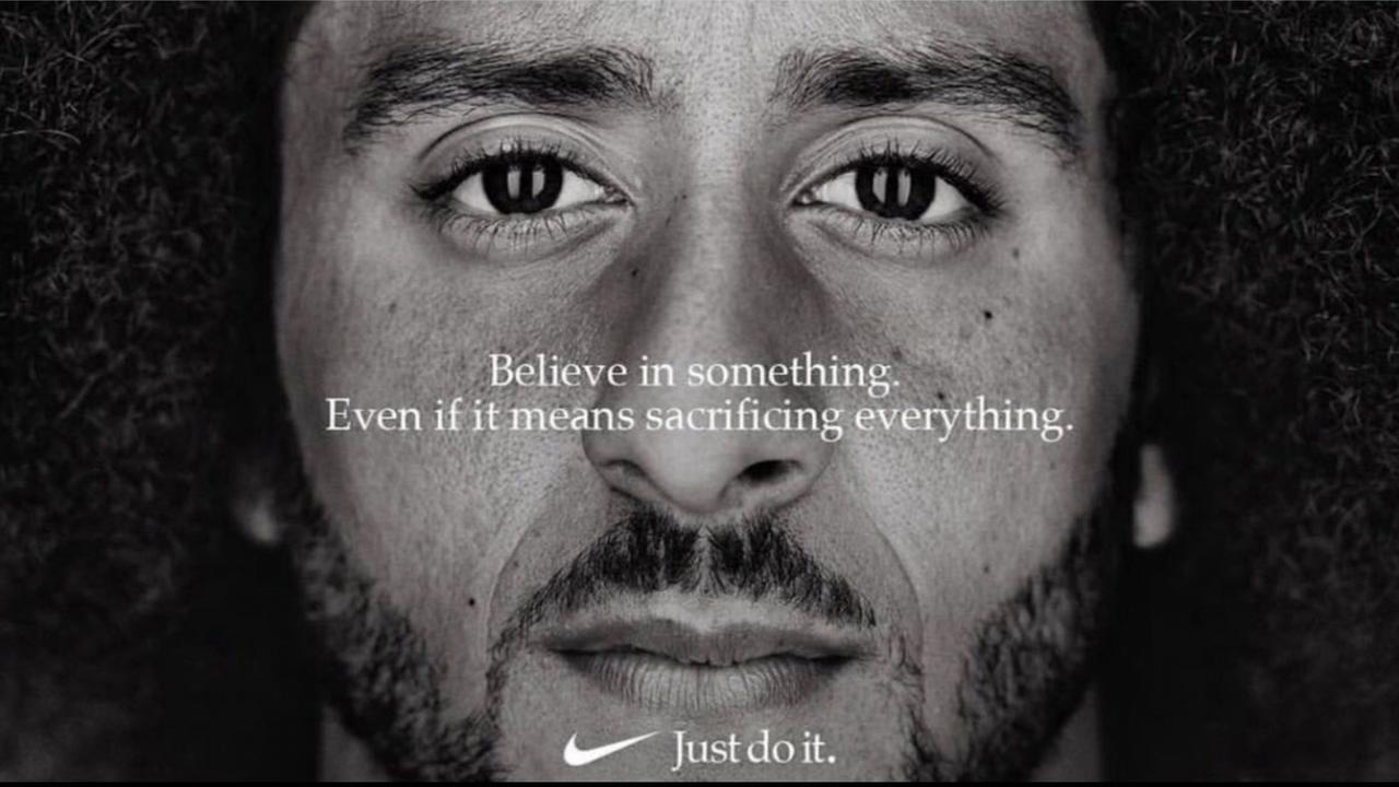 The new Nike ad features a picture of Colin Kaepernick and says Believe in something even if it means sacrificing everything.