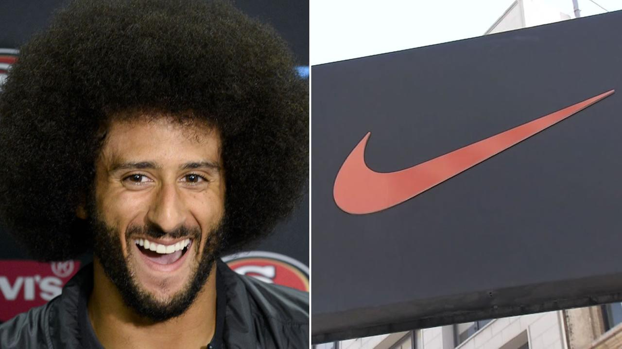 Colin Kaepernick is pictured next to a Nike logo,