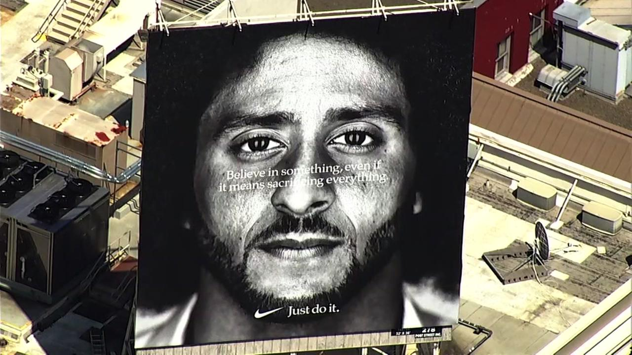 This image from SKY7 shows a Colin Kaepernick billboard above the Nike store in San Francisco on Tuesday, Sept. 4, 2018.