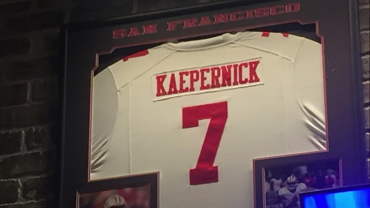 A Colin Kaepernick jersey is seen hanging in a bar in Turlock, Calif. in this undated image.