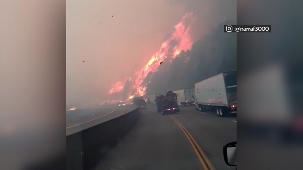 Instagram user narraf3000 shared this video of a terrifying close encounter with a wildfire burning next to I-5 in Shasta County, Calif. on Wednesday, Sept. 5, 2018.