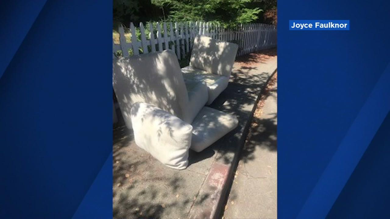 Joyce Faulknor shared this photo of her furniture in front of her neighbors home in San Carlos, Calif.
