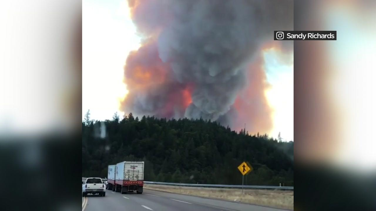 The Delta Fire in Shasta County throws a plume of smoke and flames into the air on Wednesday, Sept. 5, 2018.