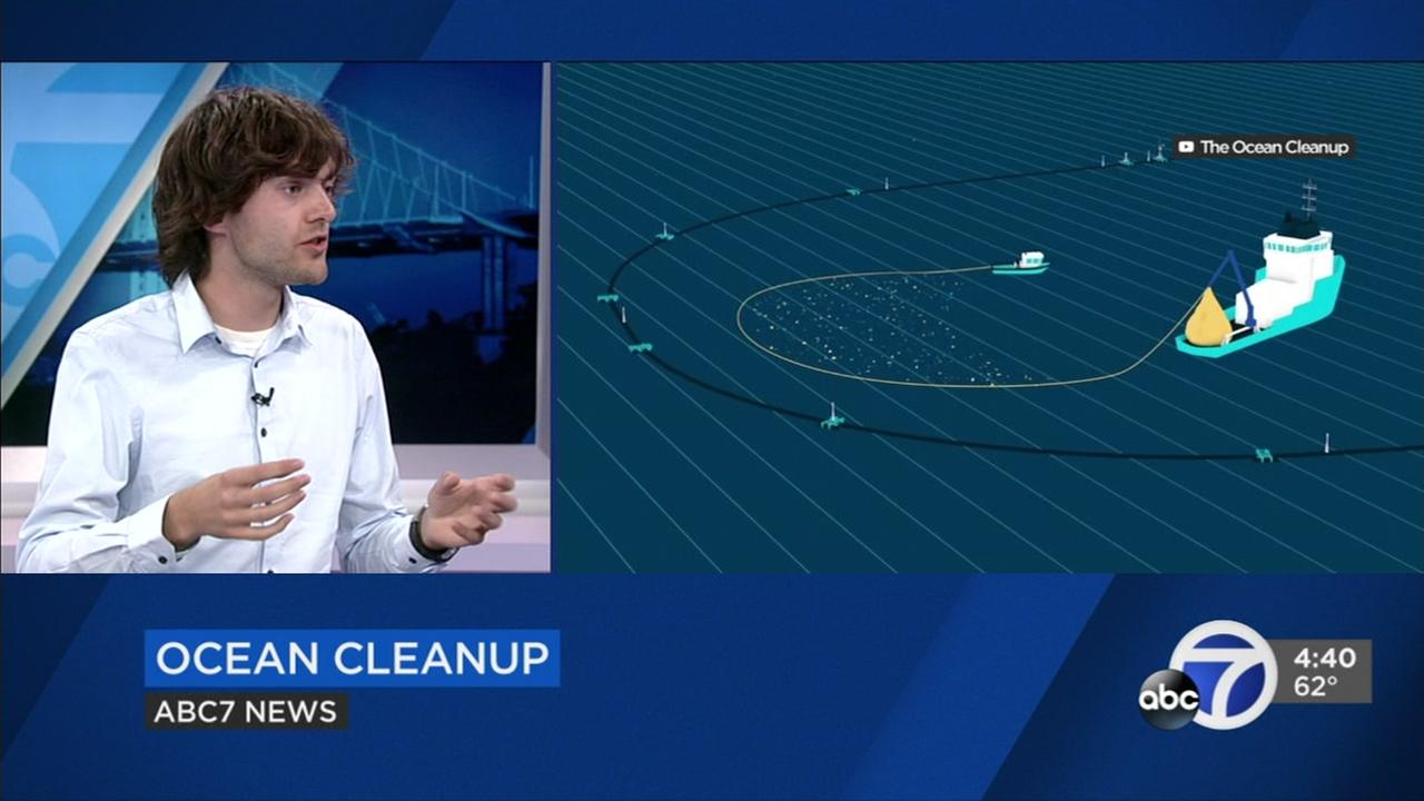 Boyan Slat, a Dutch inventor and the founder of The Ocean Cleanup, in the ABC7 studio in San Francisco on Sept. 6, 2018.