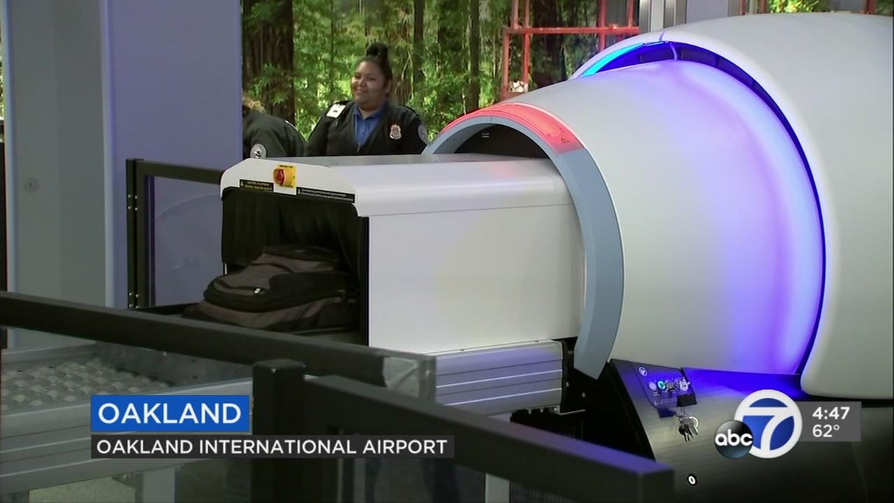 A new 3-D bag scanner is seen at a security checkpoint at the Oakland International Airport in Oakland, Calif., on Sept. 6, 2018.
