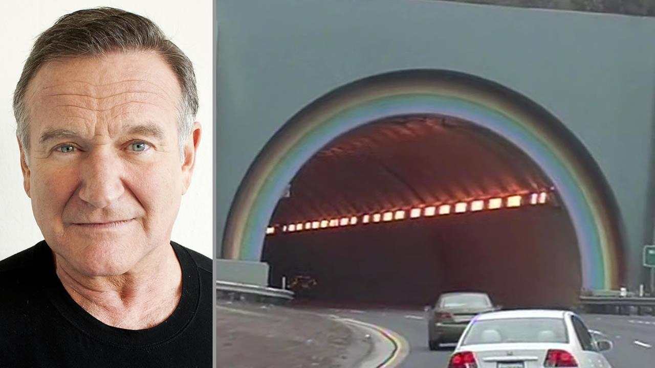 Robin Williams poses during Happy Feet press event in Beverly Hills in 2011 (left), Waldo Tunnel in Marin County (right).