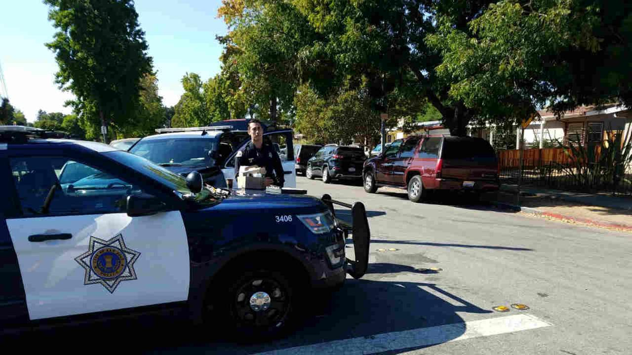 San Jose police are seen after an officer-involved shooting involving a Santa Clara police officer on Sunday, September 9, 2018.