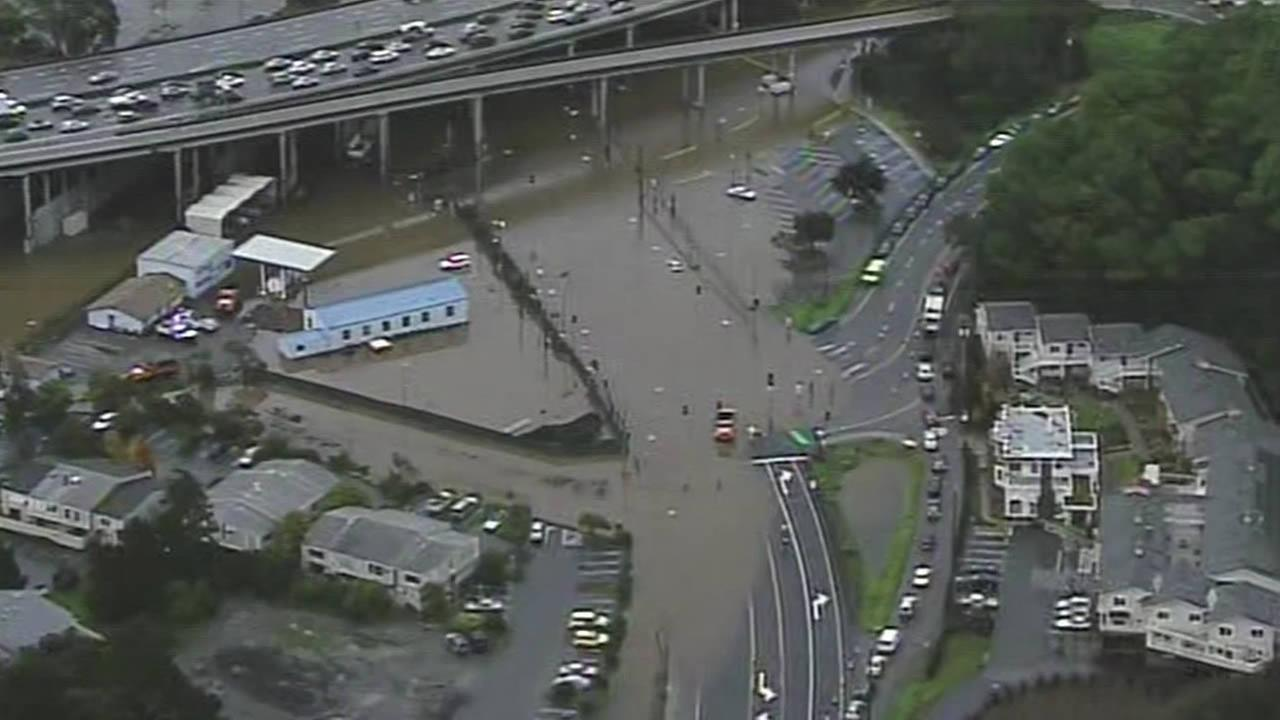 Severe flooding near Highway 101 in Marin County on Wednesday Dec,  3, 2014.