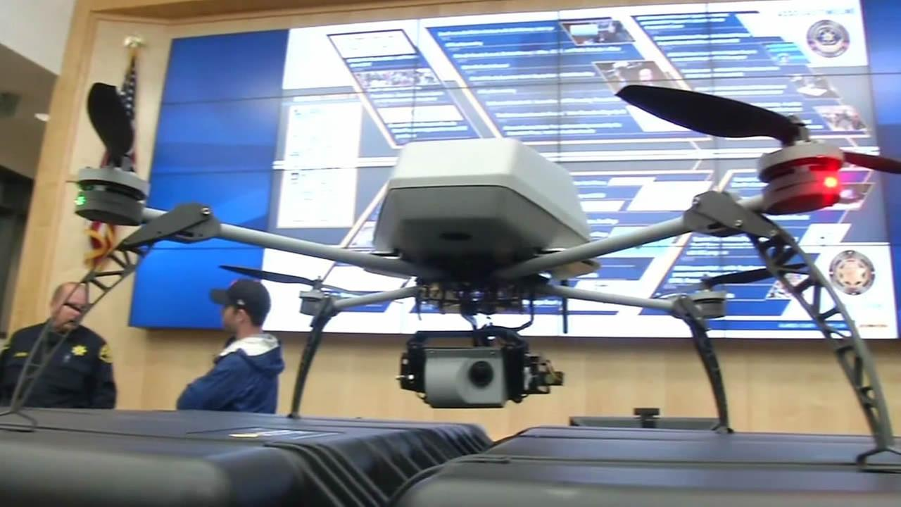 Alameda County Sheriff Greg Ahern unveils two new controversial drones.