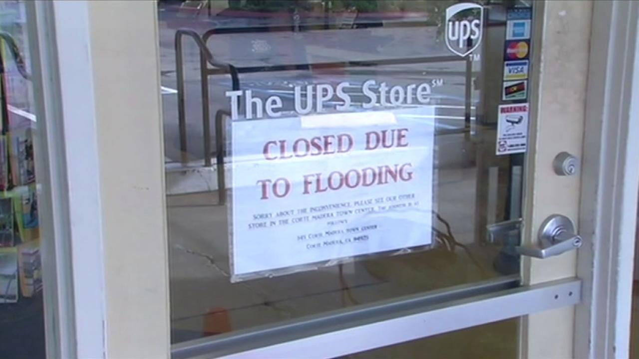 Several stores were closed in the Cove shopping center in Tiburon due to flooding.
