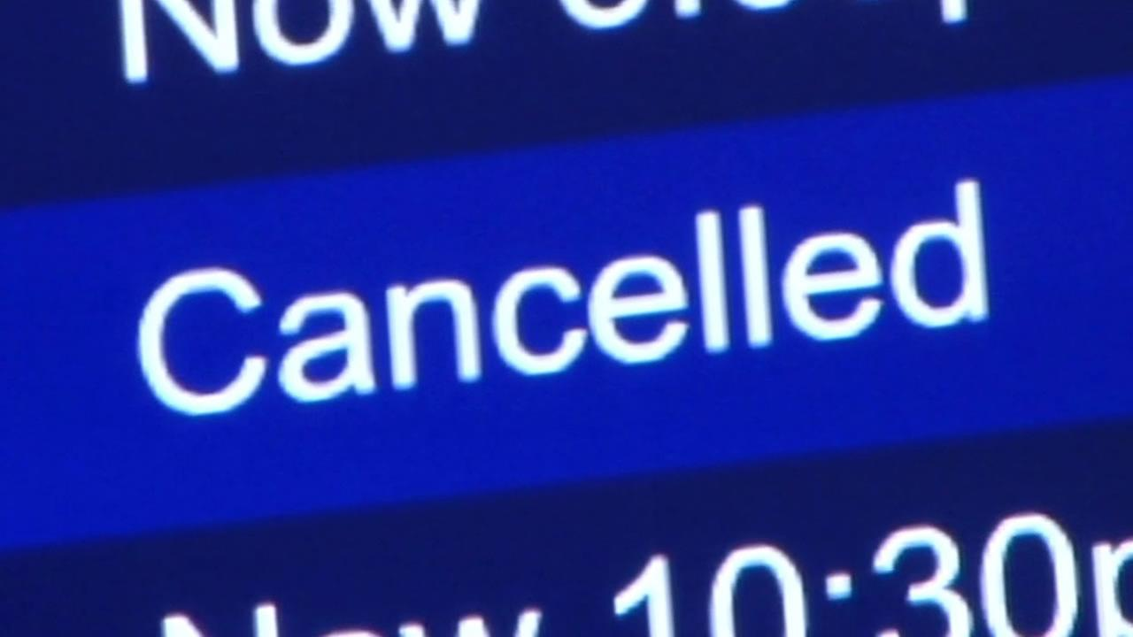 Canceled flight sign