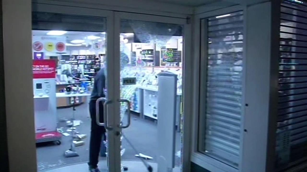 A RadioShack was vandalized during a protest in Berkeley.