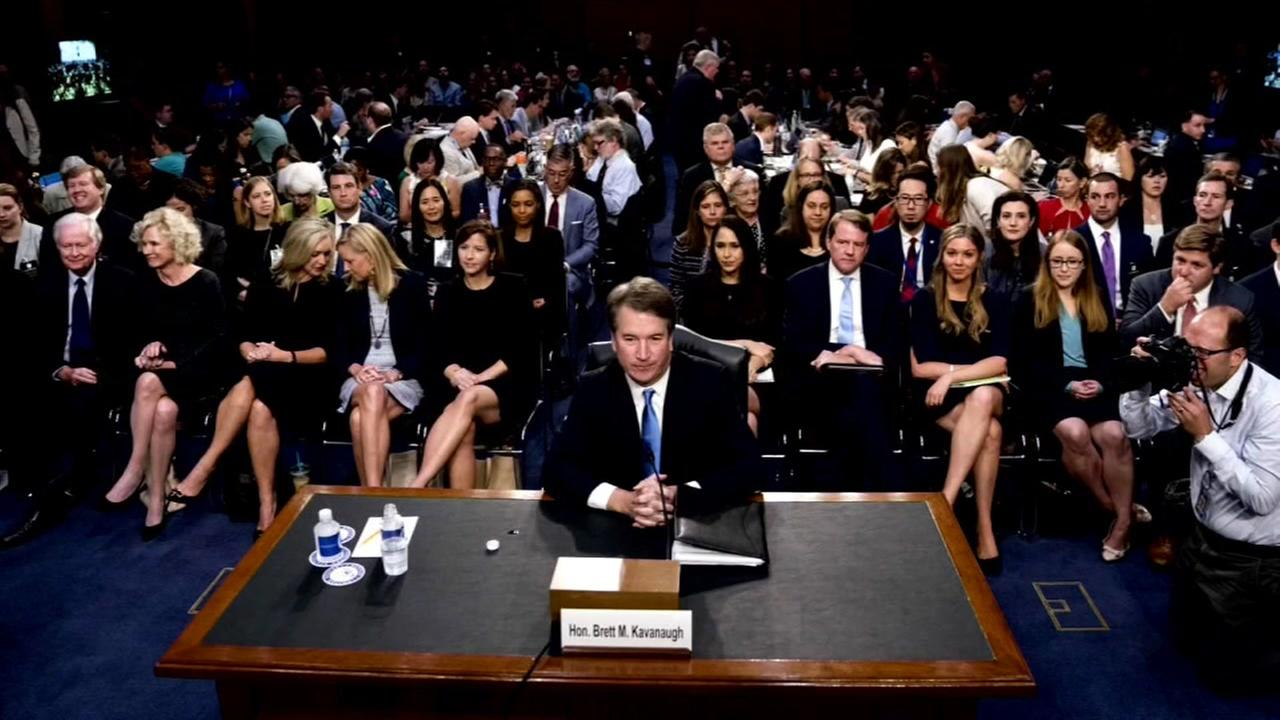 SCOTUS nominee Brett Kavanaugh sits during a hearing in Washington D.C.