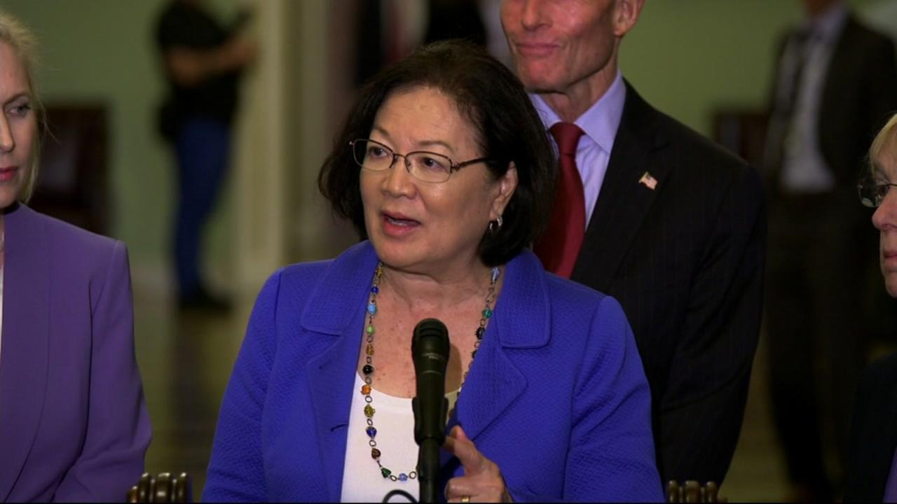 Mazie Hirono appears during a press statement on the Brett Kavanaugh situation.