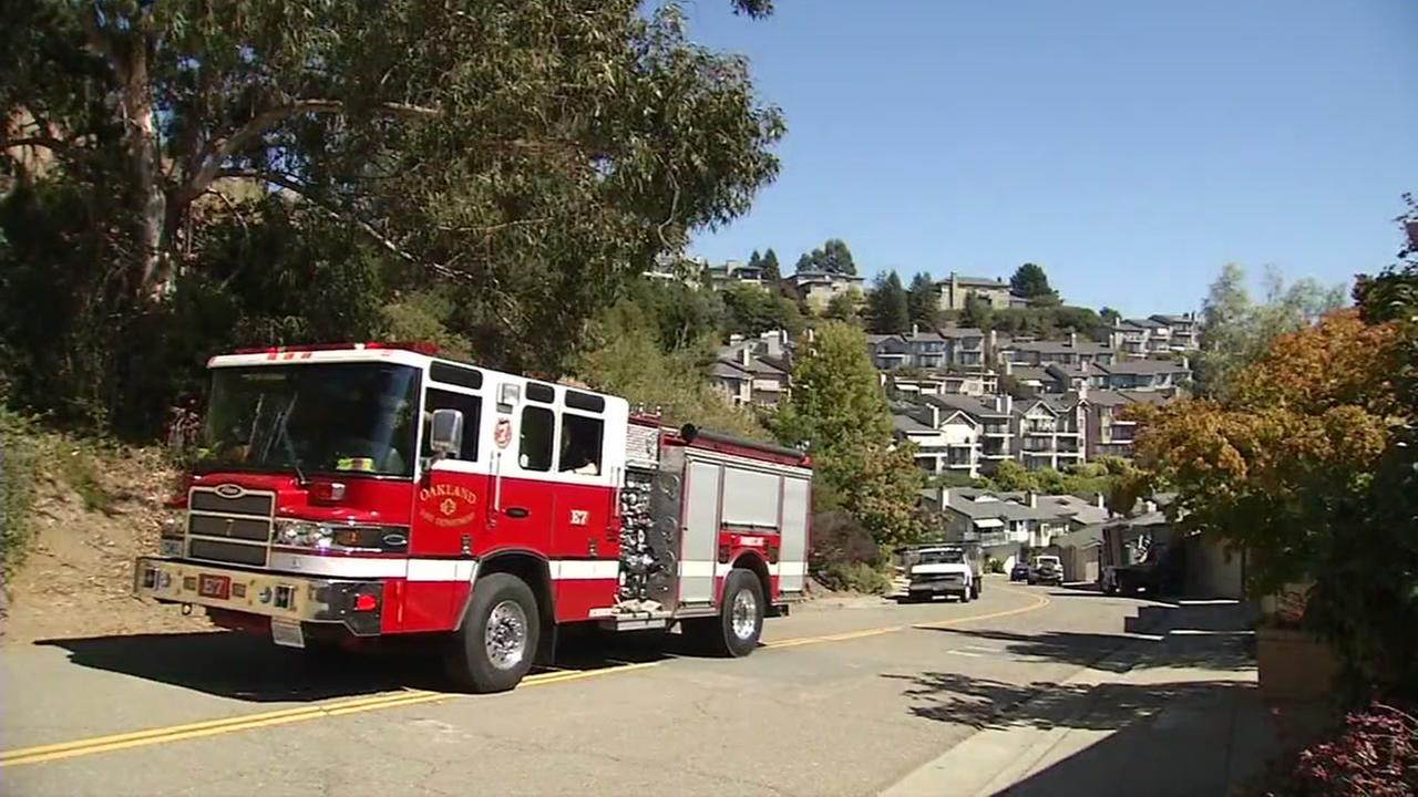 A fire truck appears in the Oakland Hills on Wednesday, Sept. 19, 2018.