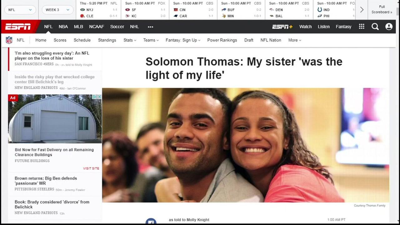 Solomon Thomas from the San Francisco 49ers appears with his sister Ella in an ESPN story.