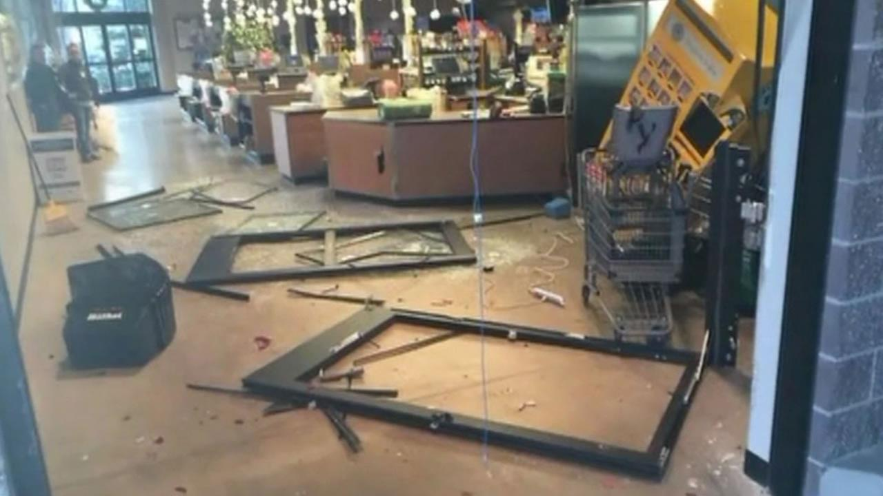 This is the damage left behind after thieves rammed a truck into a store near Seattle and drove off with the ATM.