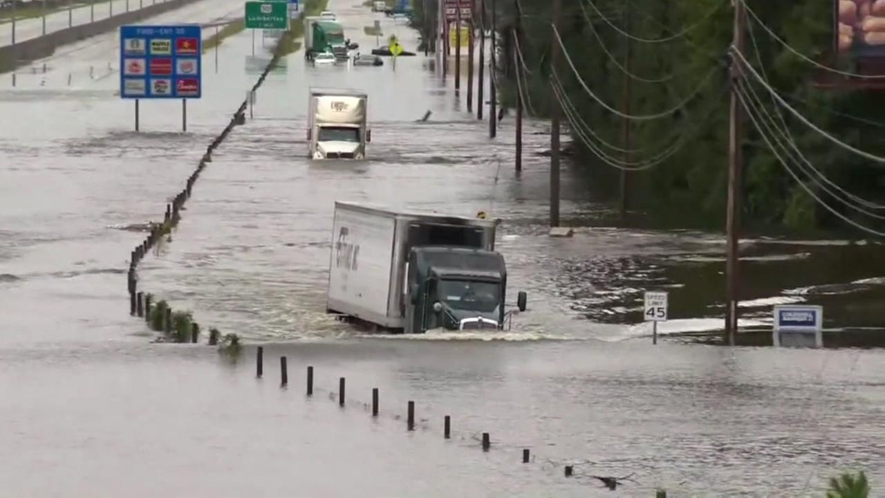 Hurricane Florence swallows a truck in this image from the hurricane during 2018.
