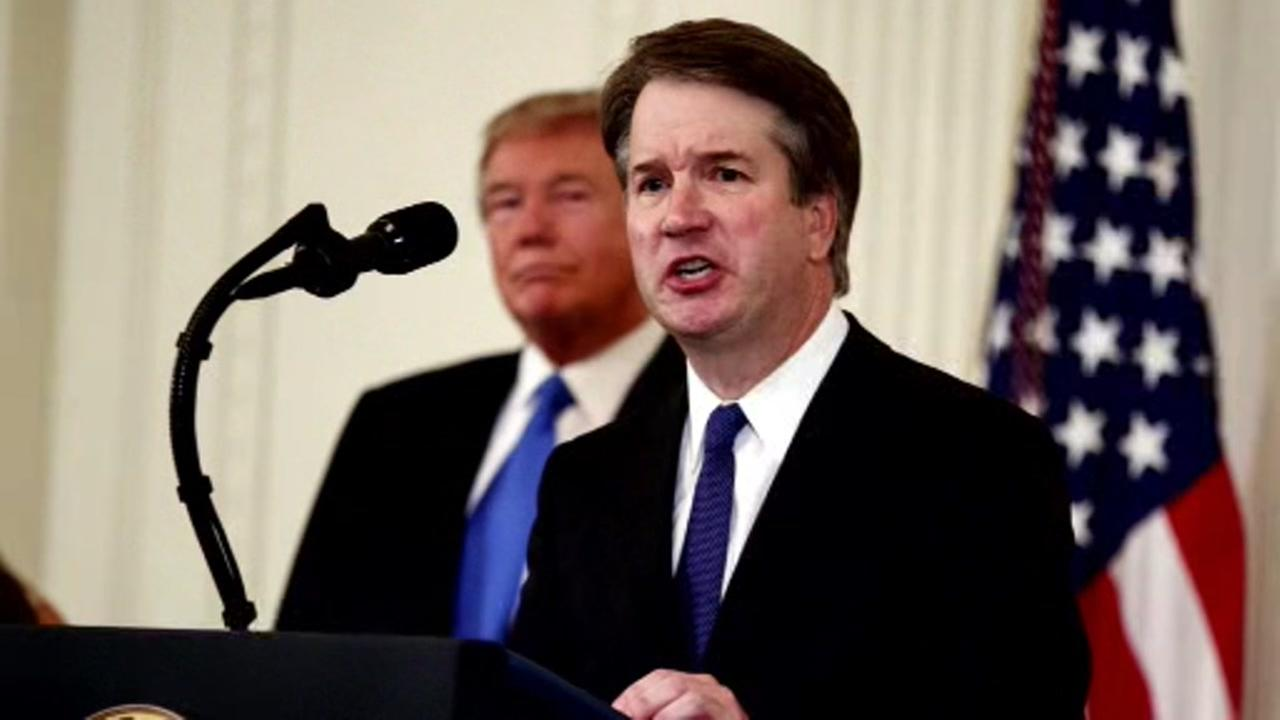 Brett Kavanaugh appears in the White House.