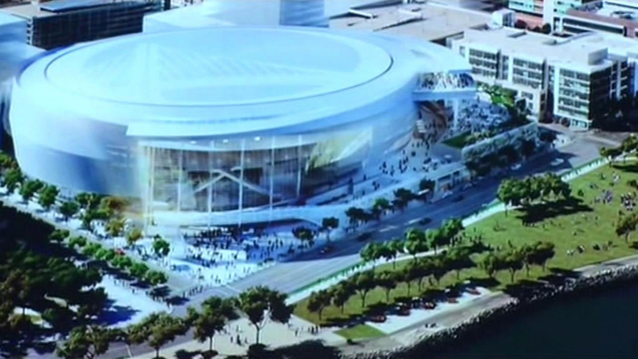 The Warriors unveiled an updated design for their new arena and entertainment center at San Franciscos Mission Bay on Wednesday.