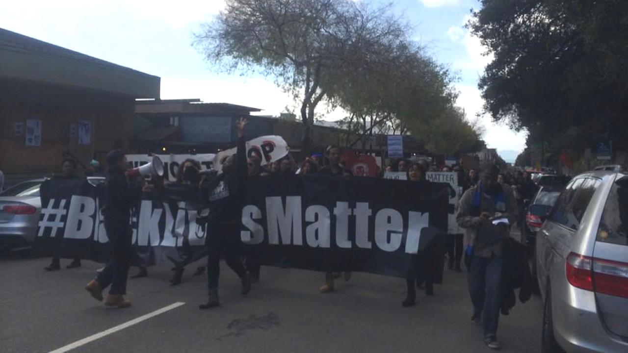 Protesters march from UC Berkeley to Oakland on Saturday, Dec. 13, 2014.