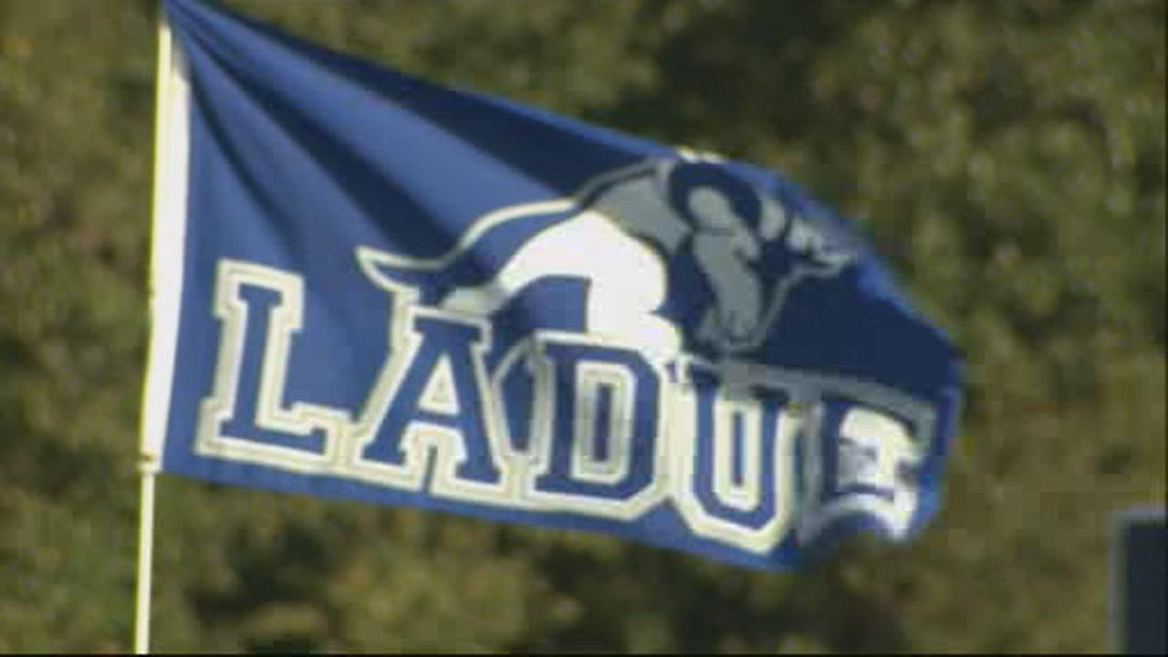 This undated images shows the Ladue Horton Watkins High School flag flying during soccer practice in St. Louis, MO.