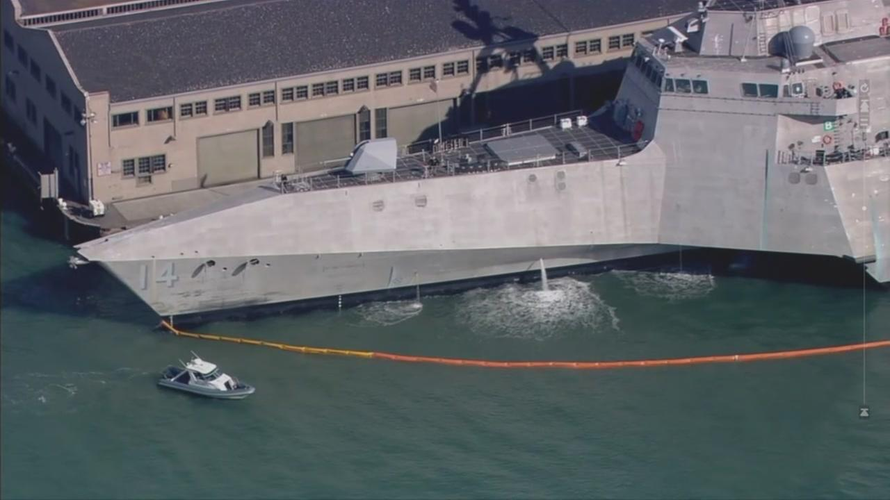 A state-of-the-art combat ship sits in San Francisco Bay on Wednesday, Oct. 3, 2018.
