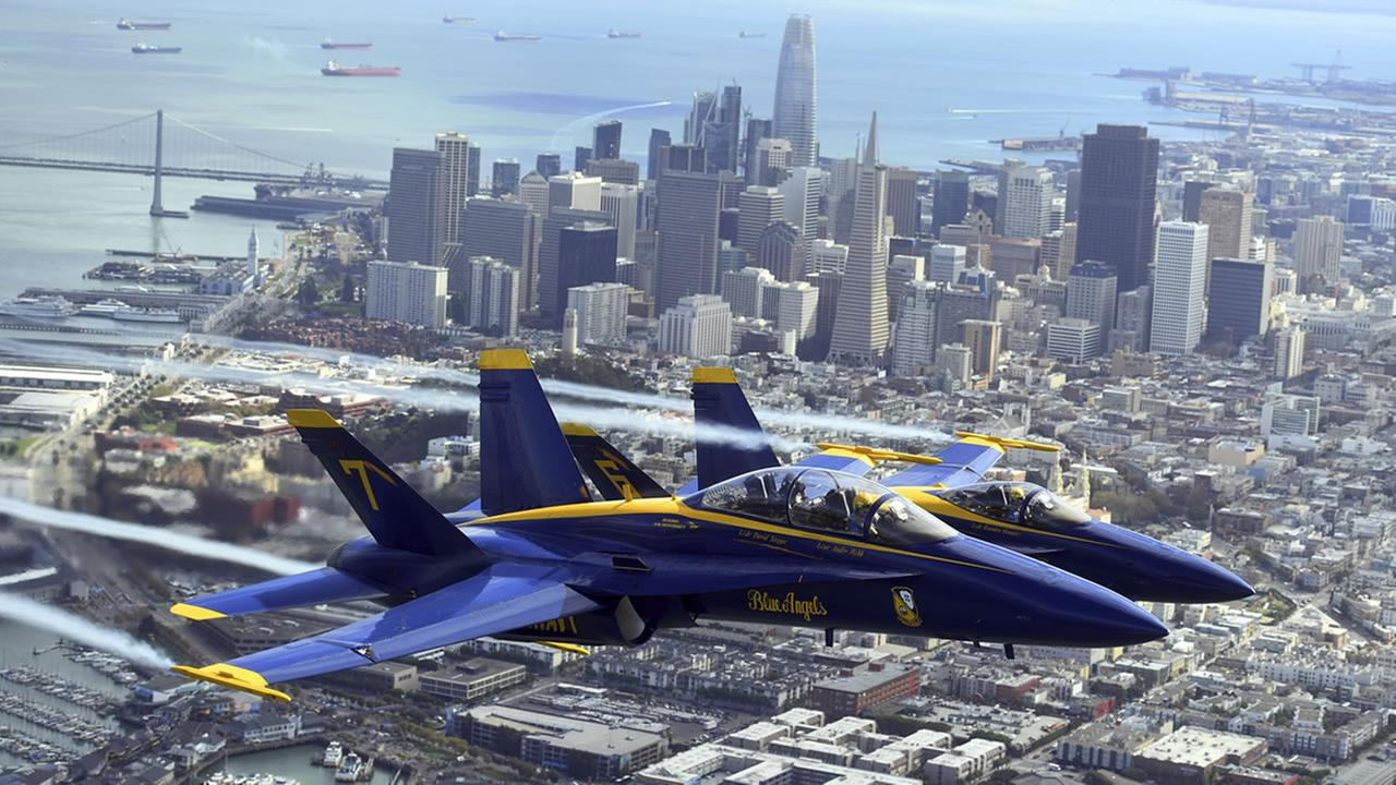 In advance of Fleet Week performances, the U.S. Navy Blue Angels fly over the San Francisco Bay, Thursday, Oct. 4, 2018, in San Francisco.