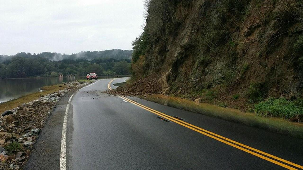 The California Highway Patrol has closed Hwy 1 in Bolinas and Stinson Beach.