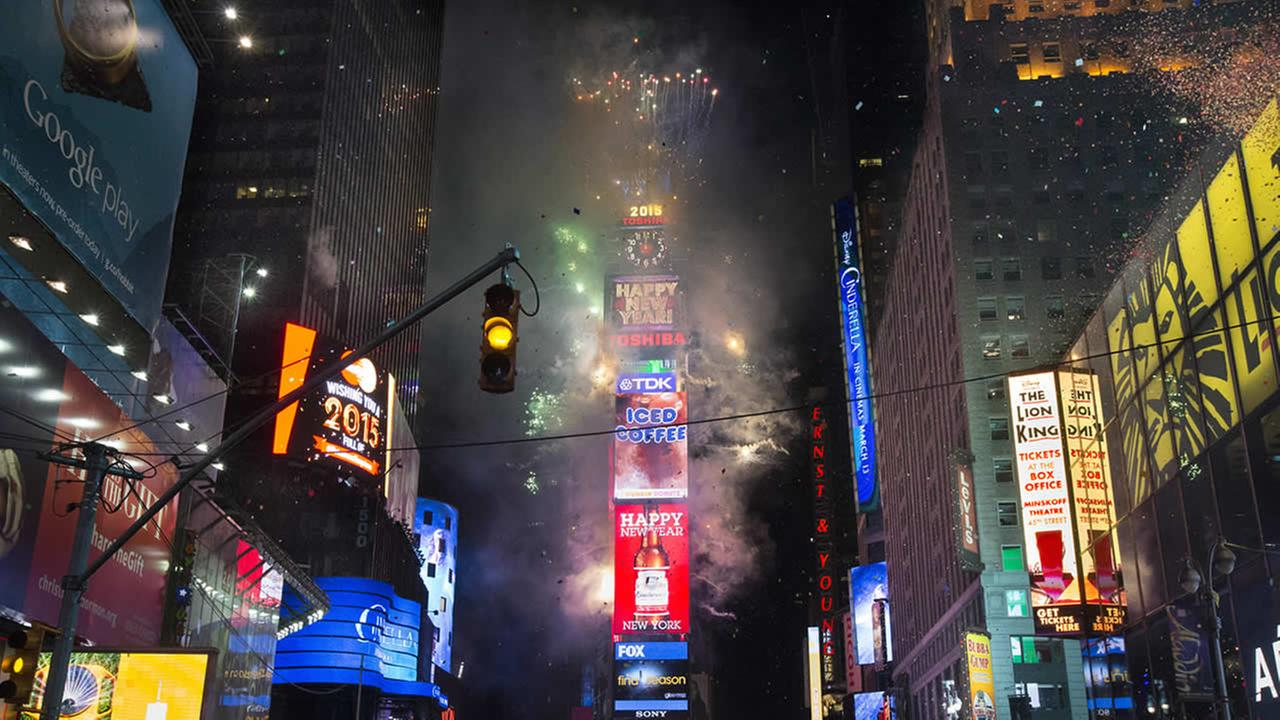 Fireworks erupt after midnight in Times Square