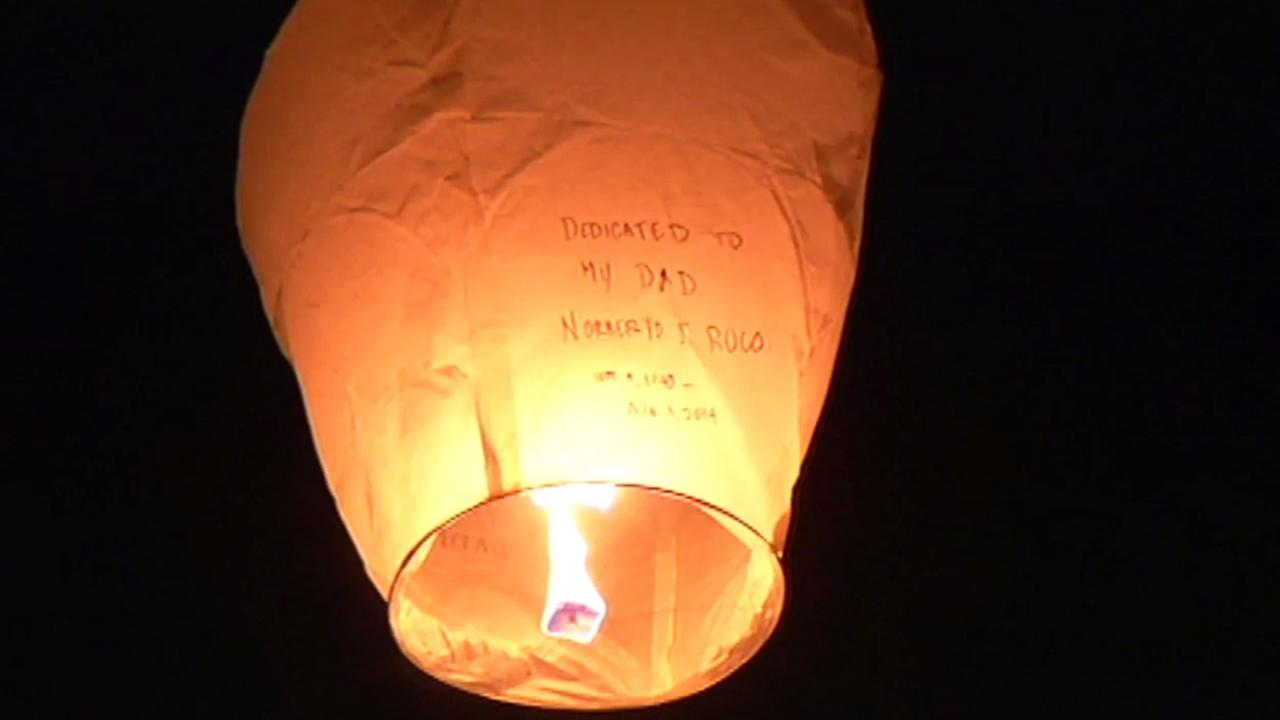 A paper lantern is launched at San Franciscos Crissy Field on Saturday, Jan. 3, 2015.