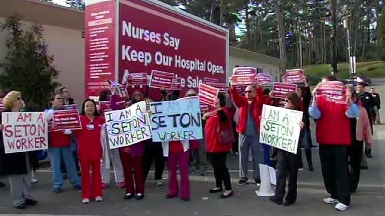 California Nurses Association protest outside hearing in Daly City