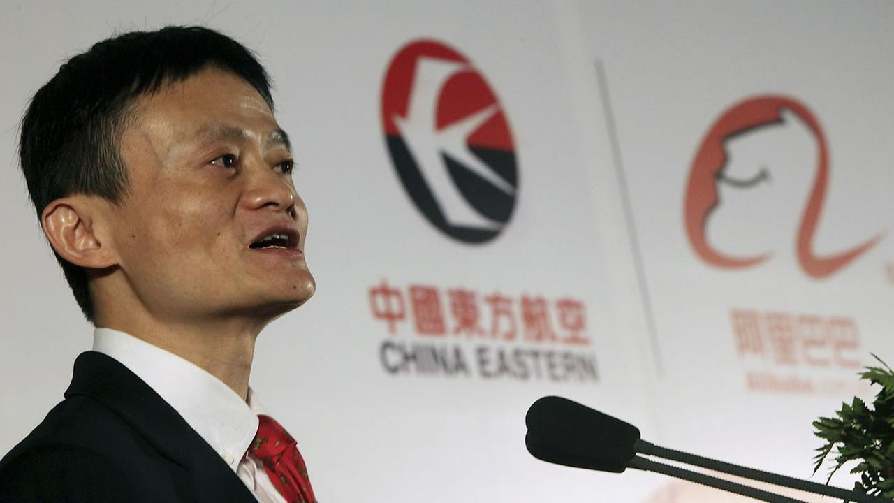 Jack Ma, founder and chairman of Alibaba Group delivers a speech during the signing ceremony of a strategic partnership between China Eastern Airlines and Alibaba Group Tuesday Nov. 24, 2009, in Shanghai, China