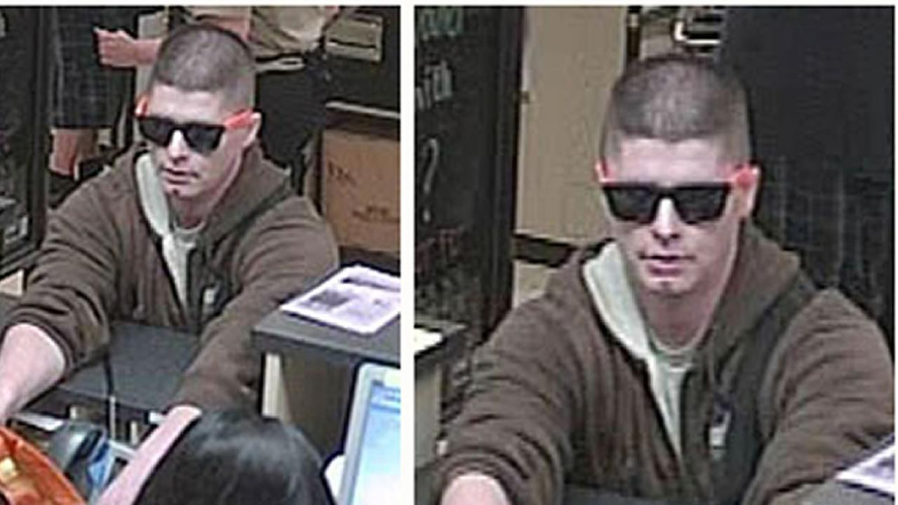 San Jose police are looking for a man who donned sunglasses during the armed robbery of a bank inside a Safeway store on Hamilton Avenue.