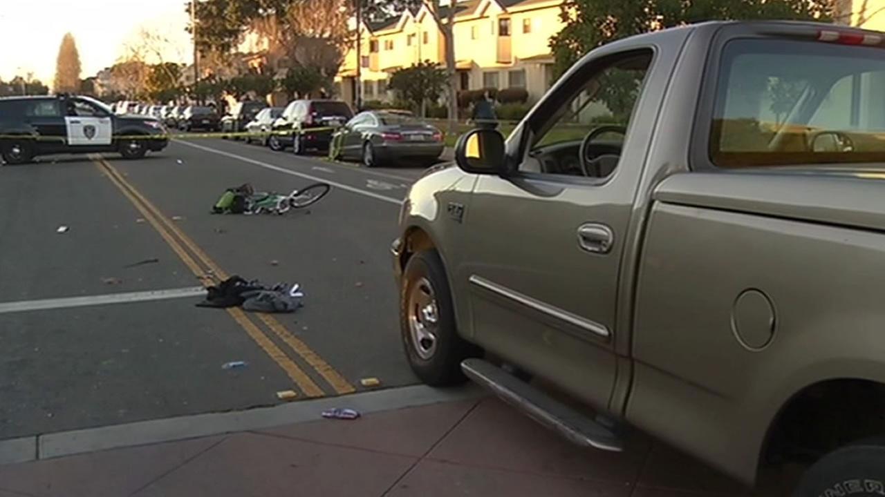 West Oakland truck vs. bike accident