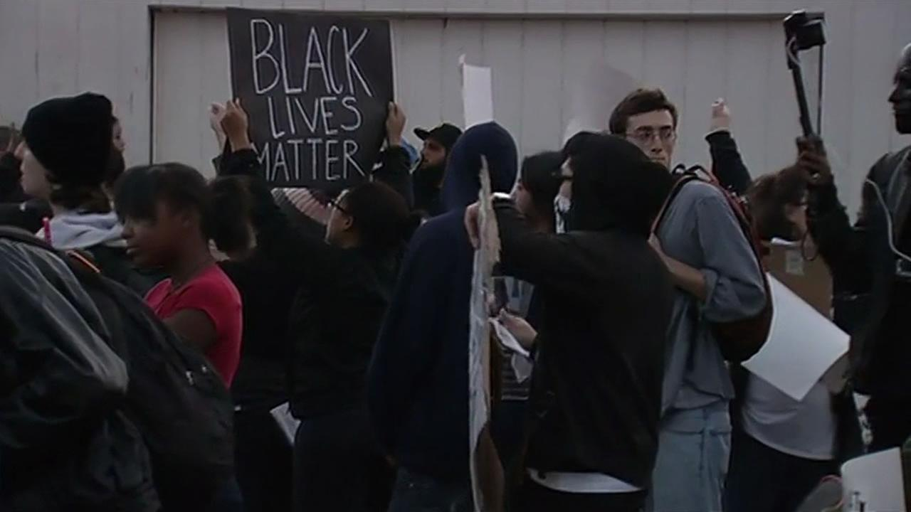 Anti-police brutality protesters on Bancroft Avenue in Oakland Saturday night.