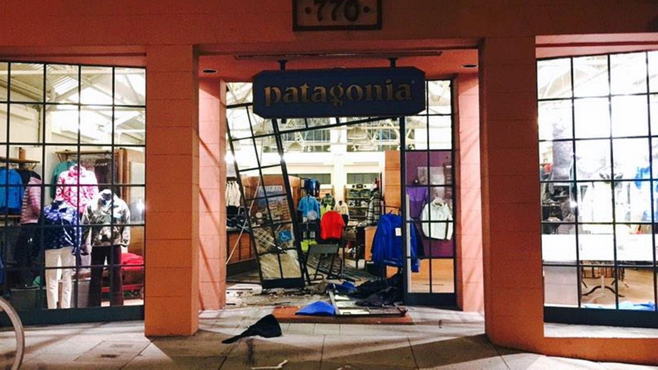 Burglary scene at the Patagonia store in San Francisco.