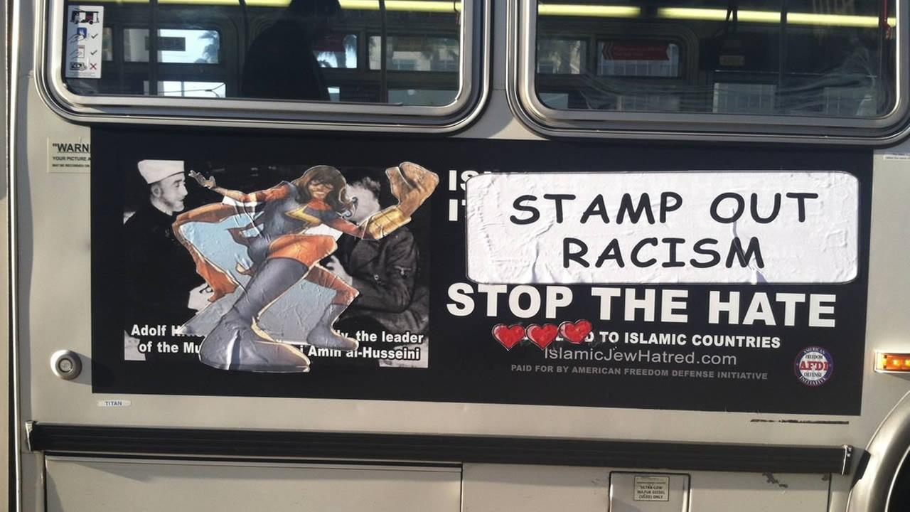Anti-Muslim ad defaced on San Francisco Muni bus