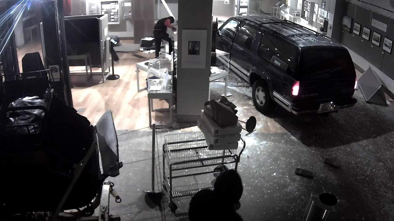 Thieves crashed a stolen SUV into the Wells Fargo Museum, held a security guard up at gunpoint, and stole gold nuggets in San Francisco, Calif. on Jan. 27, 2015.